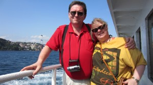 On a Ferry Boat with my Hubby on the Bosphurus in Turkey