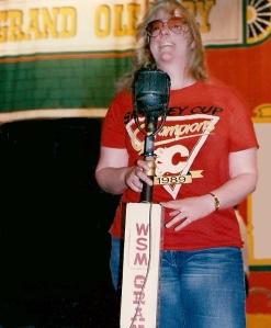 Tina wearing Calgary Flames 1989 Champions T-Shirt at Ryman Auditorum, Nashville 1989