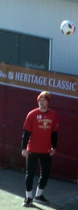 Matt-Stajan With a Soccor Ball warming up Before Heritage Classic Game 2011