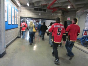 Fans Through BMO from the C-Train to the Saddledome in Calgary