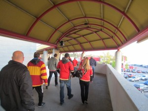 Flames Fan Trek To Dome from C-Train