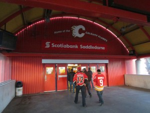 Fans Arriving at the Saddledome Entrance from the C-Train