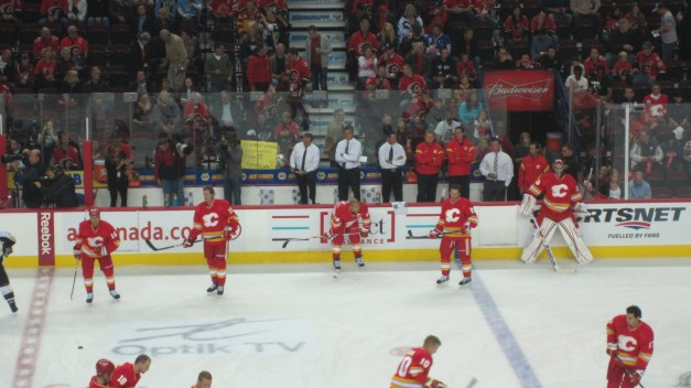 Calgary Flames Warmup Pre Game Home Opener Oct 8, 2011