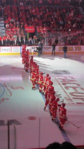 Calgary Flames Introduction before National Anthem at Opening Game Oct 8, 2011