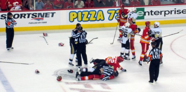 Third Period Fight Calgary Flames vs Pittsburgh Penguins Oct 9, 2011