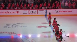 Calgary Flames during the National Anthem
