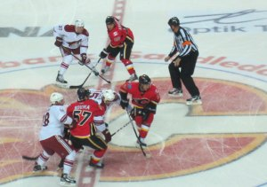 Centre Ice Face Off Calgary Flames