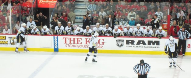 Pittsburgh Penguins Bench Calgary Flames Opener Oct 8, 2011