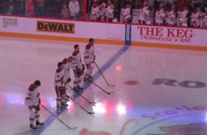 Phoenix Coyotes during the National Anthem at Calgary Preseason 2011