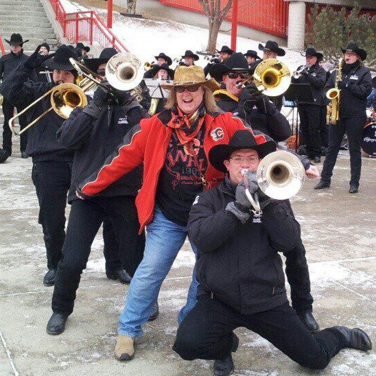 Calgary Stampede Band pose as they play to let me have a pic with them